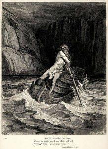 Dante na łodzi - podróż Dantego - boska komedia
