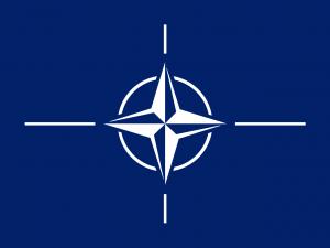 Flaga NATO - biała róża wiatrów symbolizująca cztery strony świata