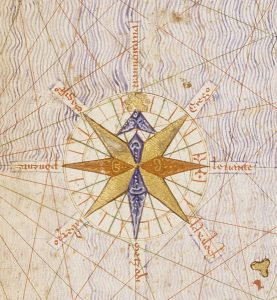 Mapa Catalan Atlas - stylizowany znak czterech stron świata