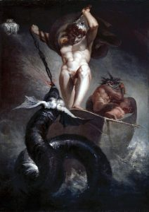Thor walczący z wężem Jormungandem