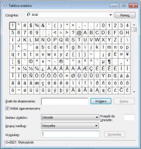 Tablica znaków - Windows