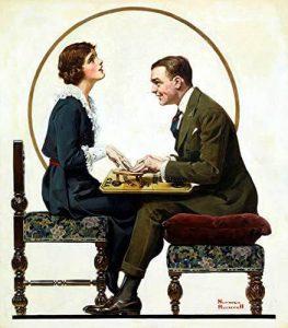 Para grająca w ouija - Norman Rockwell 1920 rok