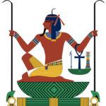 bóg egipski Heh - w tle widzimy symbol shen